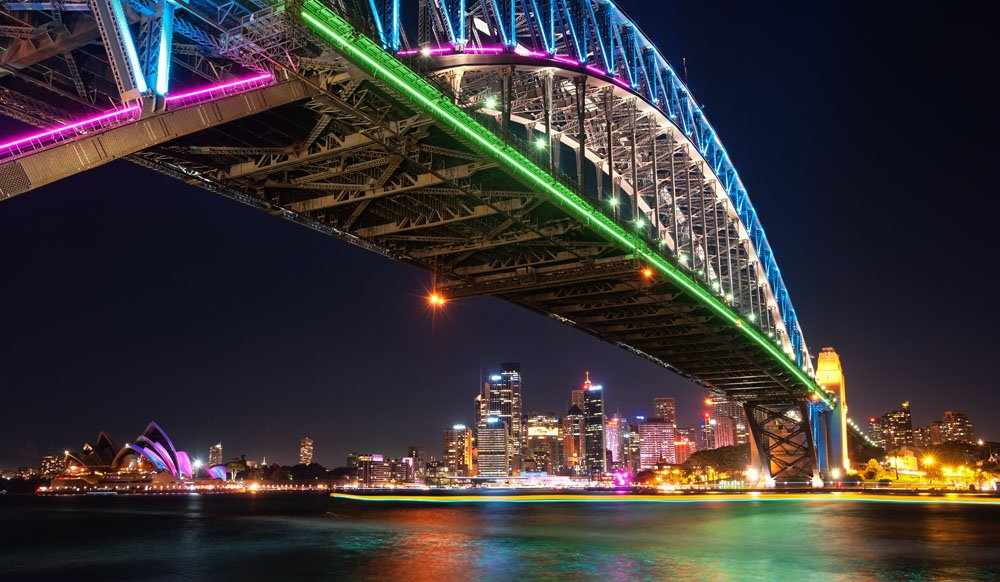 Sydney Harbour Bridge lit up during Vivid, Sydney