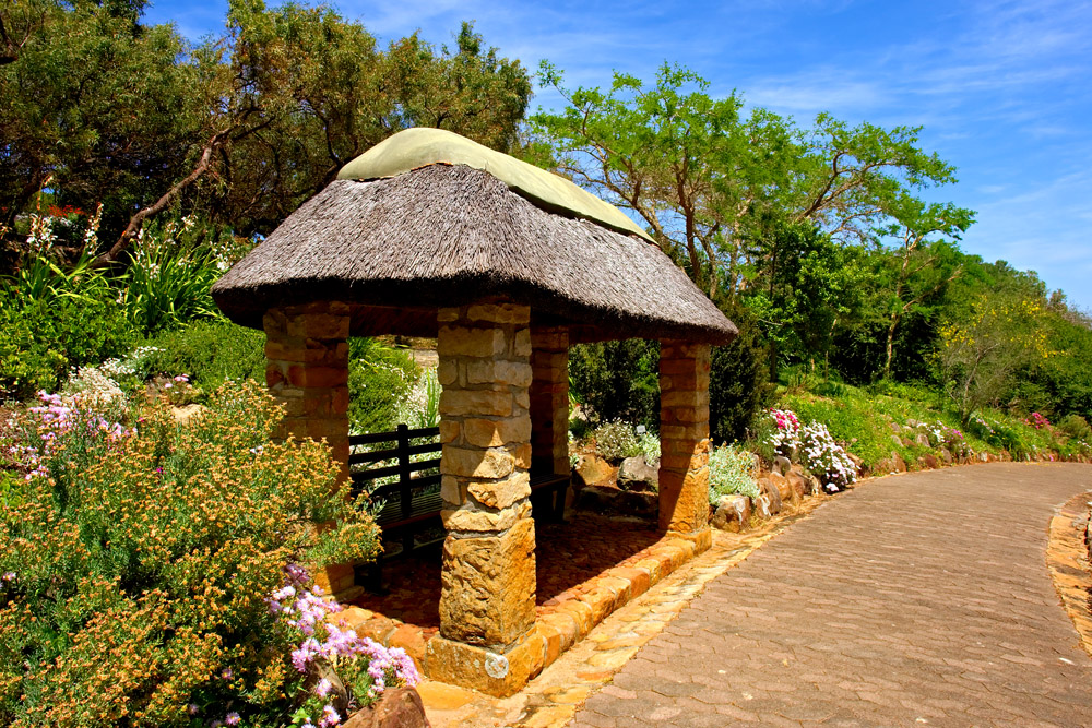 Thatched Roof Pavillion in Kirstenbosch Botanical Garden, Cape Town, South Africa