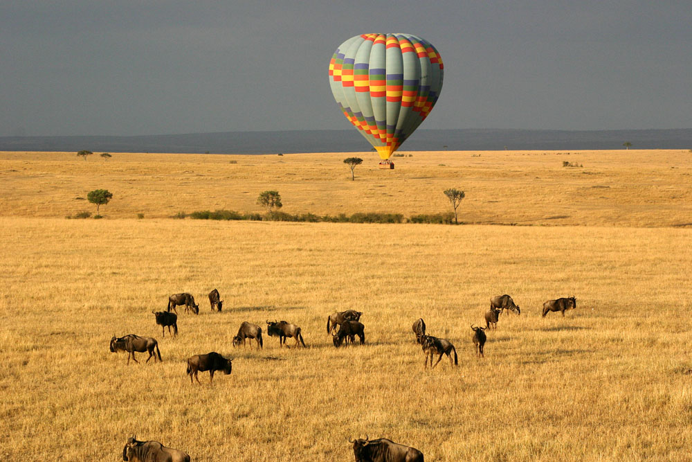 Hot air balloon safari over Maasai Mara