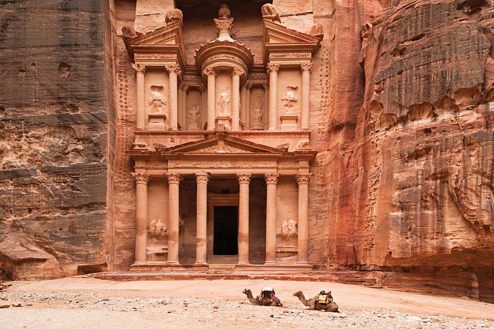 Camels in front of Treasury Building, Petra, Jordan