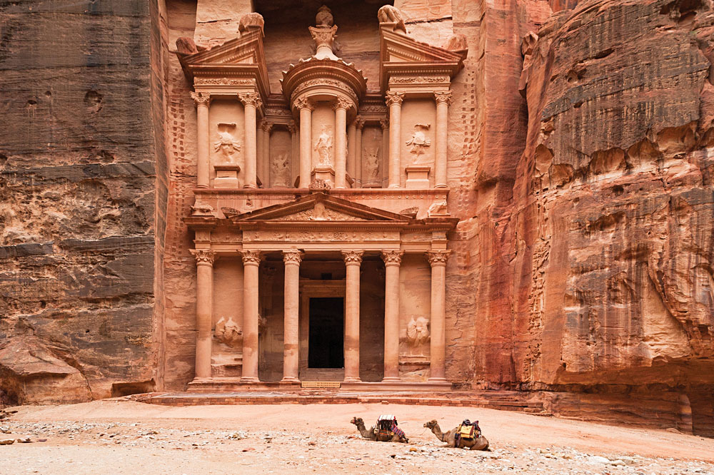 Camels in front of Treasury Building, Petra