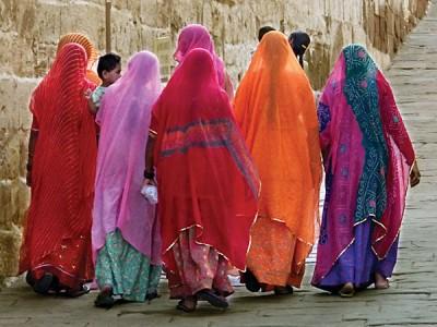 Bright coloured saris