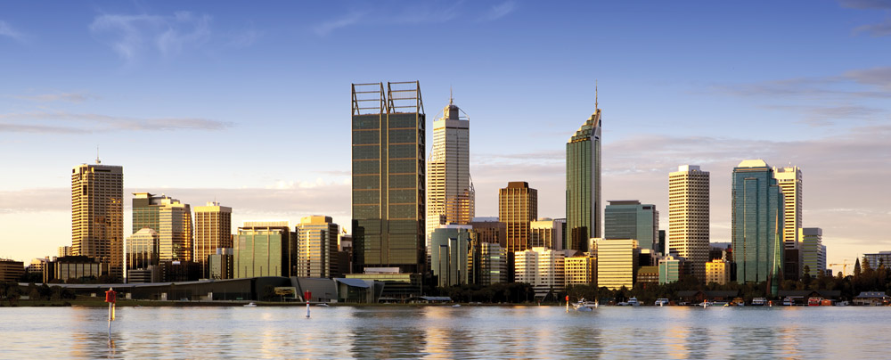 Perth skyline at dusk as seen from Swan River