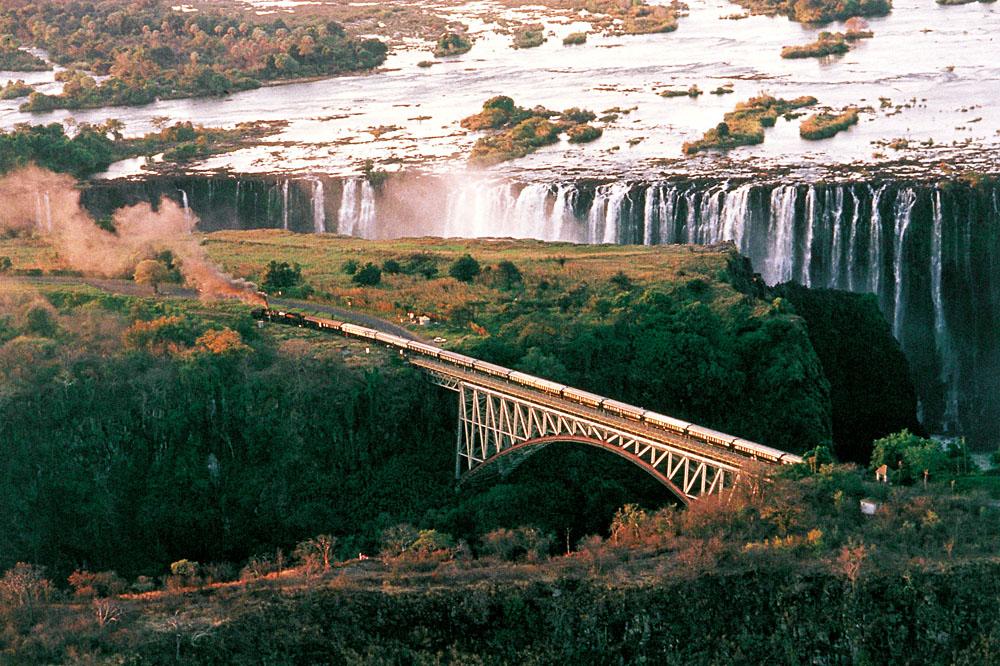 Rovos Rail gliding along Victoria Falls