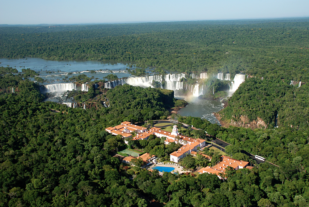Aerial View of Iguassu Falls and Belmond Das Cataratas Hotel, Brazil