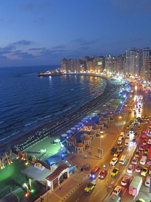 The Corniche in Alexandria at night