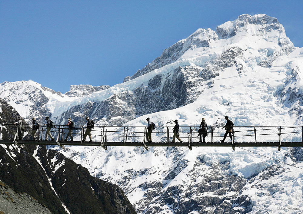 Hikers on the Hollyford swing bridge