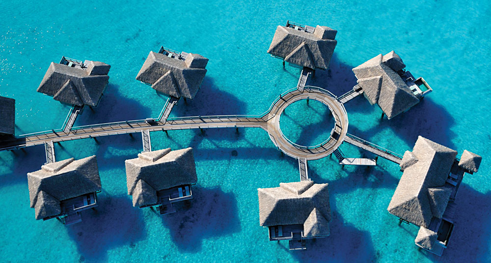 Overwater Bungalow - Four Seasons Bora Bora, Tahiti Aerial View of Overwater Bungalows