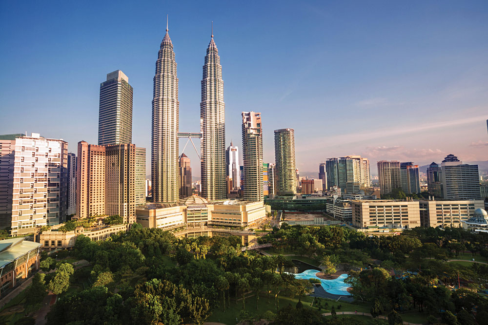 Petronas Towers and Landscape, Kuala Lumpur, Malaysia