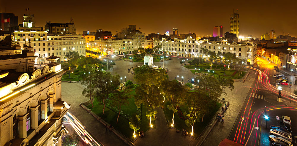 San Martin Square at Night, Lima, Peru_