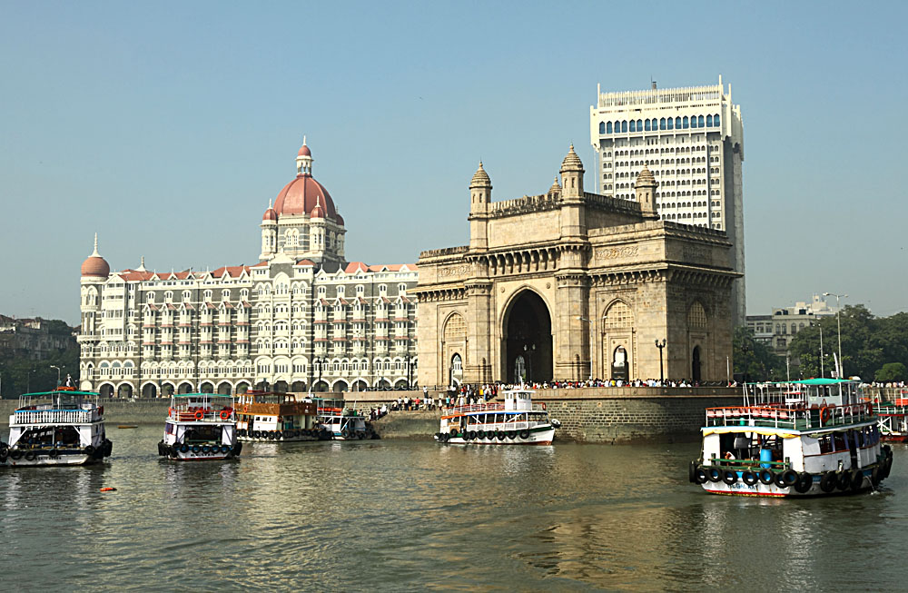 Mumbai's Gatweay of India and iconic Taj Hotel
