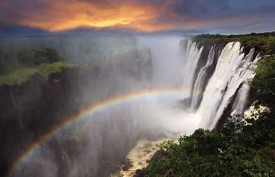 Victoria Falls over Sunset, Zambia