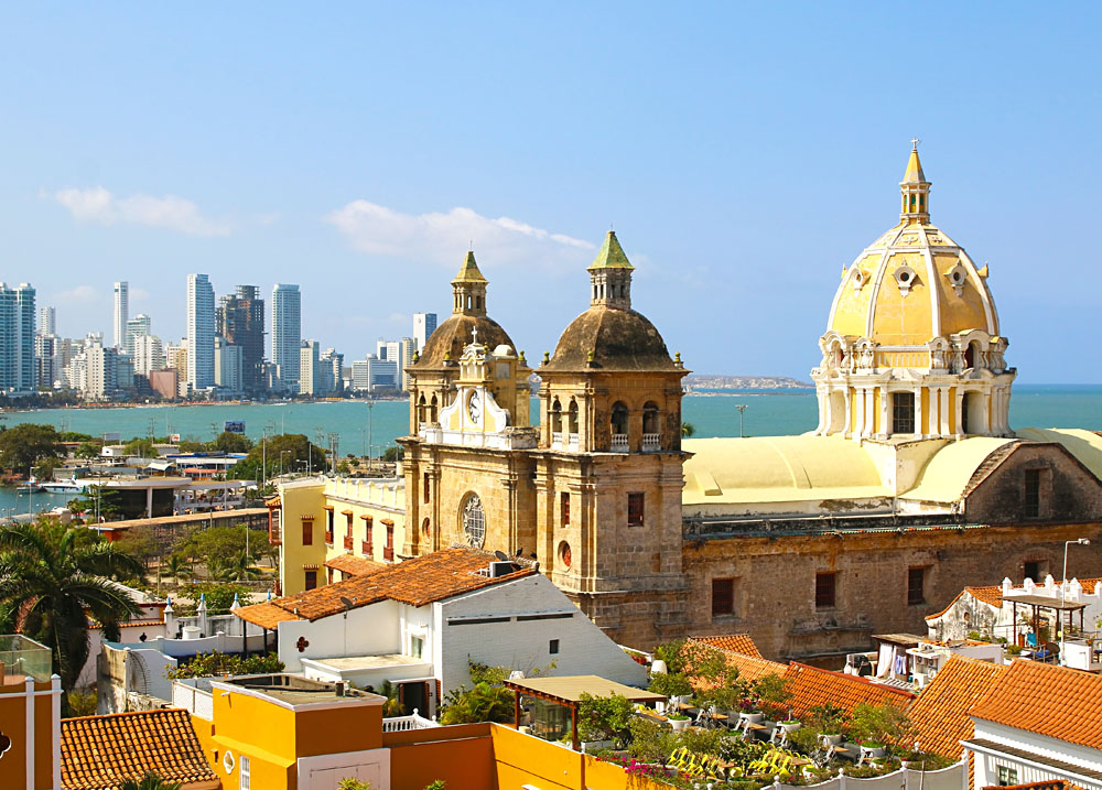 Historic centre of Cartagena, and modern in the Background, Colombia