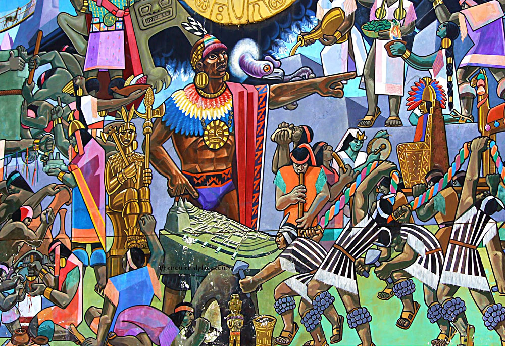 Mural in Cusco of Incan Empire, Peru