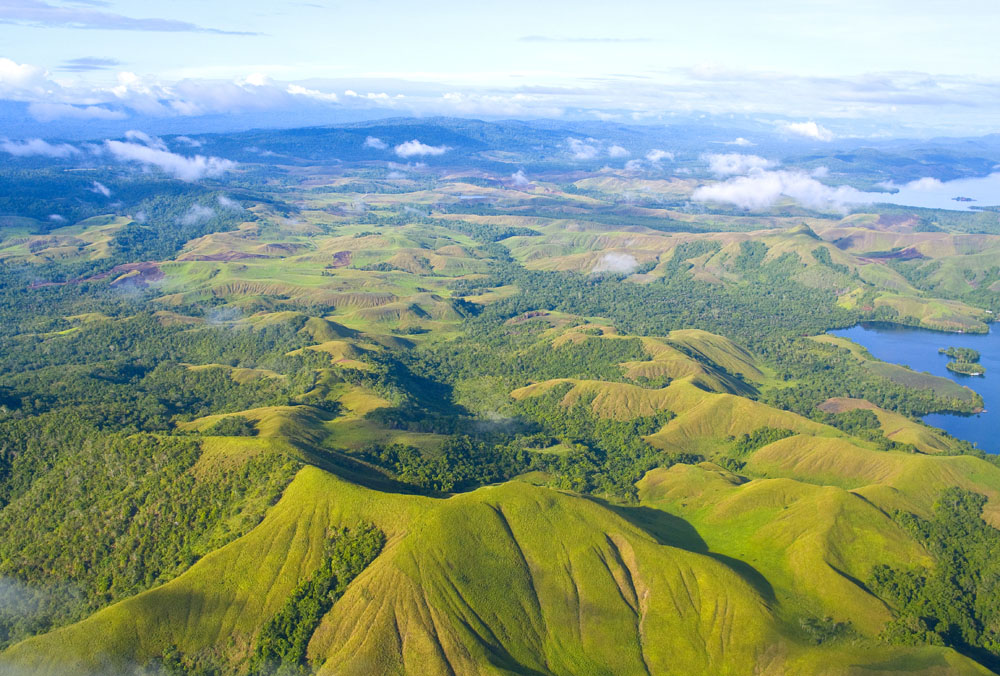 Aerial view of the coast of Papua New Guinea