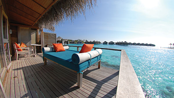 View from private overwater bungalow, Anantara Veli