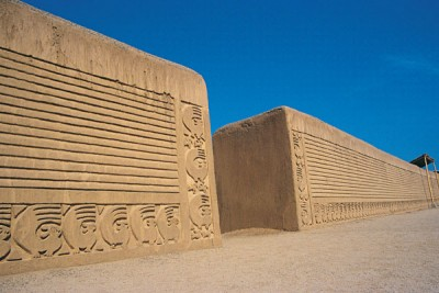 Chan Chan Adobe Brick City Wall in Chimu Design, Peru