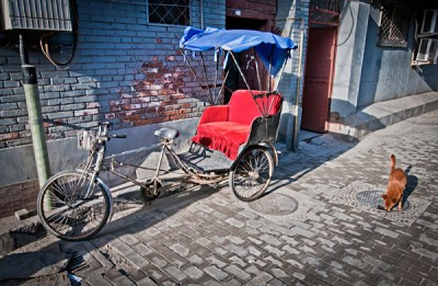 Cycle rickshaw in Hutong area, Beijing, China