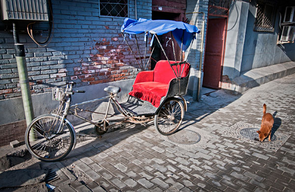 Cycle rickshaw in Hutong area, Beijing, China