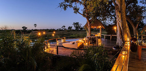 Enjoy Sunsets from the Raised Viewing Decks, Little Mombo Camp