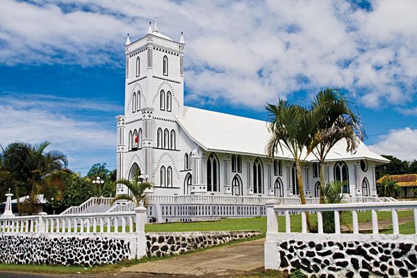 Falefa white church, Opolu, Samoa