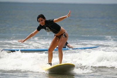 Girl Learning to Surf in Costa Rica