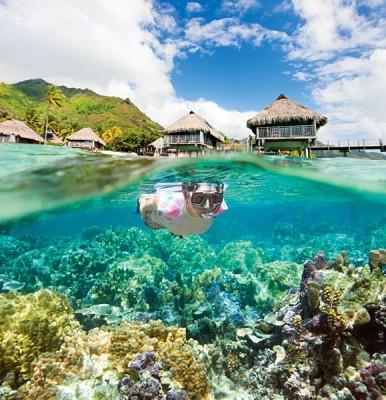 Girl Snorkelling in Tahiti