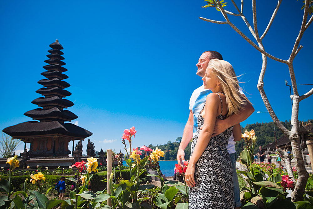Honeymoon Couple Near the Balinese Temple at Beratan Lake, Bali