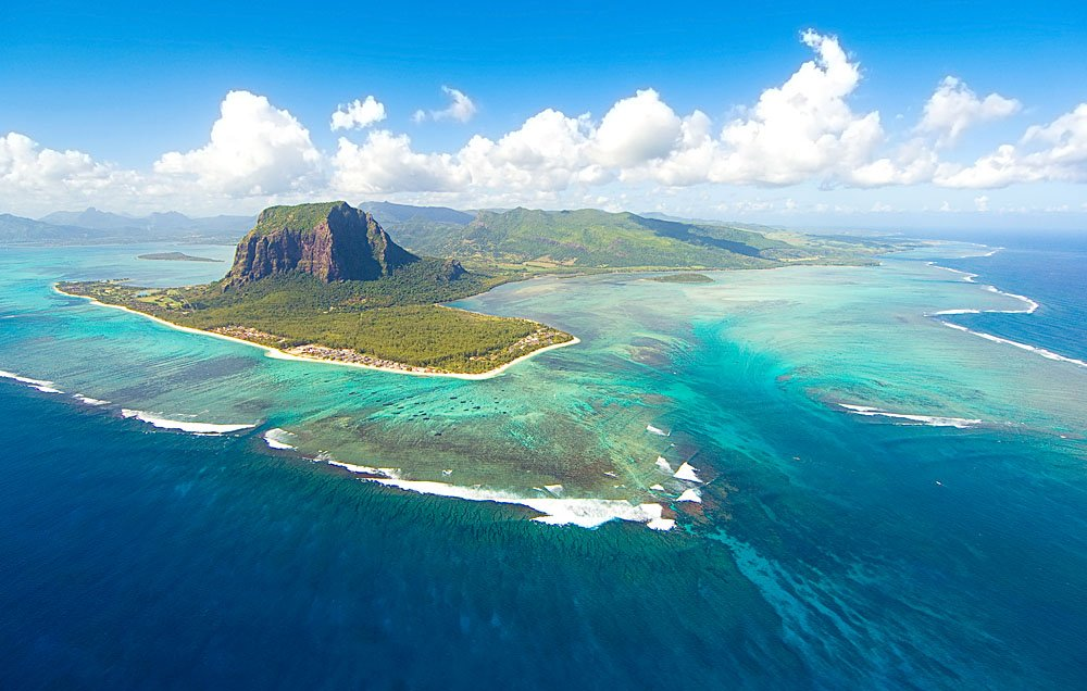 Aerial view of the Mauritius Islands