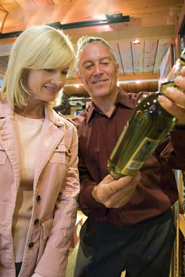 Mature Couple Wine Shopping