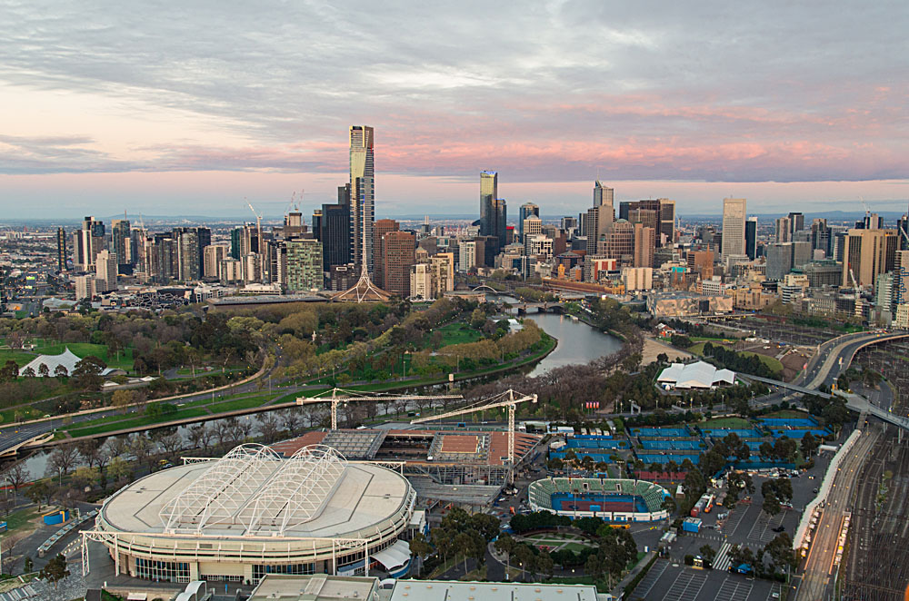 Melbourne City, Sporting Precinct and Yarra River, Australia