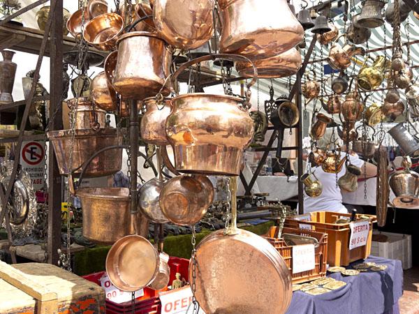 Antique copperware sold at San Telmo Market
