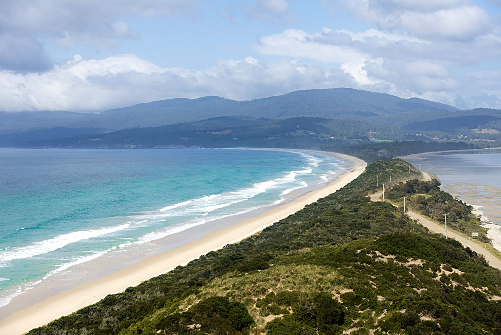 Scenic panorama lookout over The Neck beach on Bruny Island, Tasmania, Australia