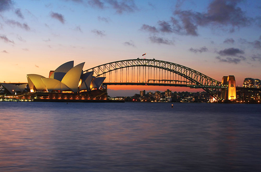 Sydney Opera House and Bridge at Sunset, Australia