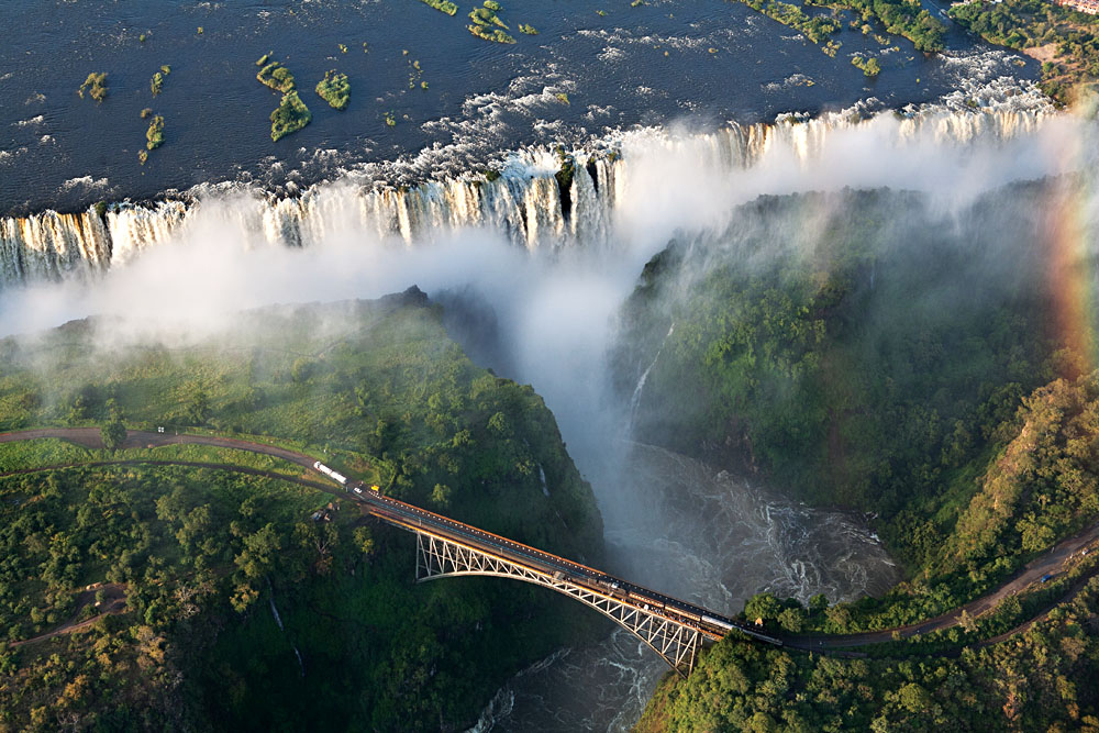 Helicopter view of Victoria Falls
