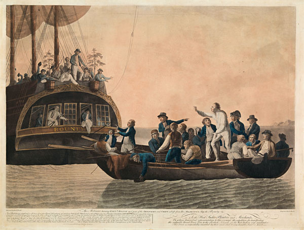 'The mutineers turning Bligh and his crew from the 'Bounty', 29th April 1789', aquatint by Robert Dodd, 1790.