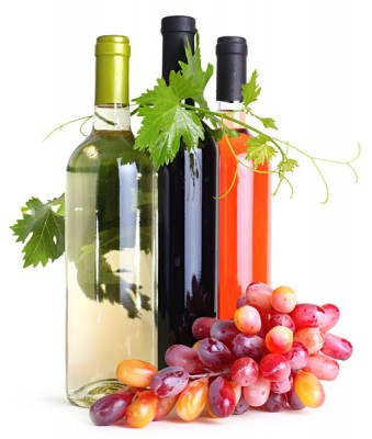 Wine Bottles with Grapes_111142472
