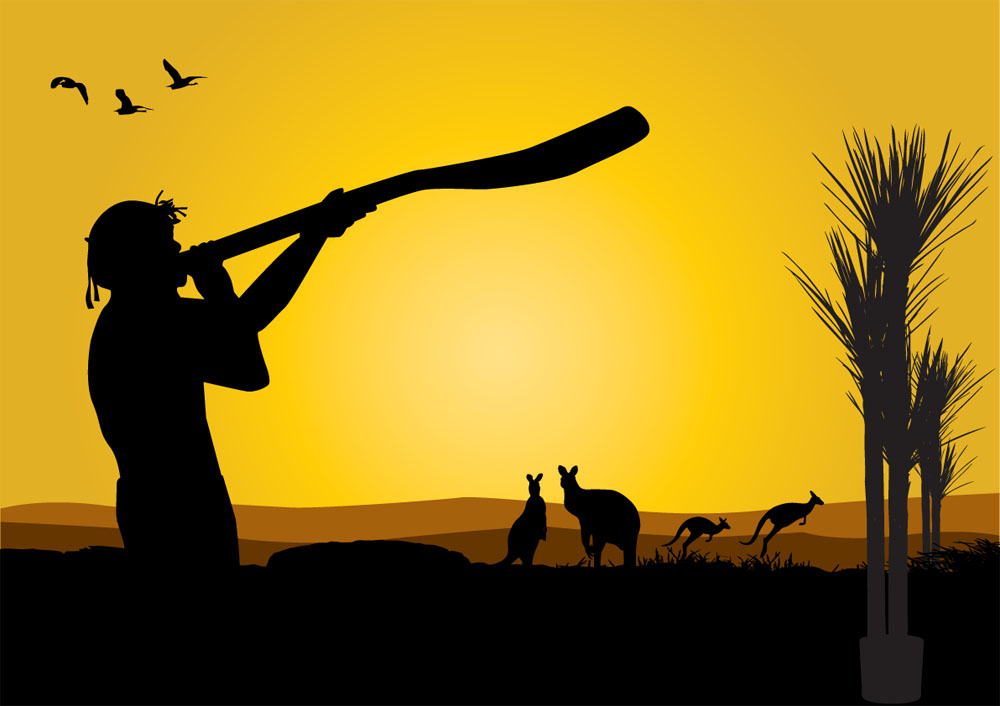 Aboriginal Man Blowing into a Didjeridu and Kangaroos at Dusk Vector