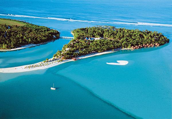 Aerial view of Aitutaki Island, Cook Islands