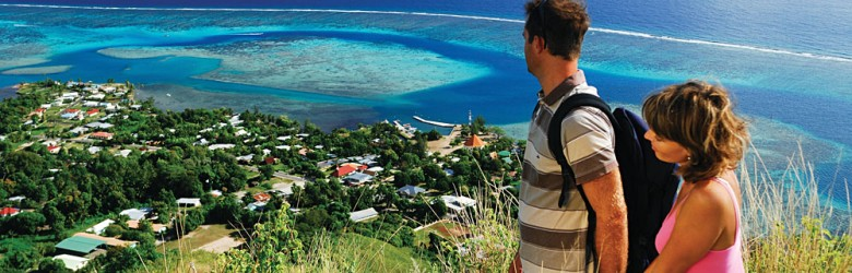 Couple Enjoying Beautiful Scenery of Moorea, Tahiti