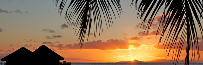 French Polynesia Islands With Palm Tree and Sunset, Tahiti