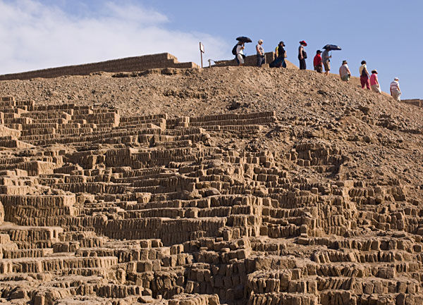 Group of Tourists Decends the Huaca Pucllana Pyramid, Peru