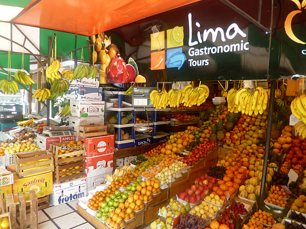 Lima Gastronomic Tours Sign at Market, Peru