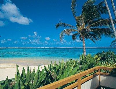 Beachfront views from suite balconies at the Palm Grove, Rarotonga, Cook Islands