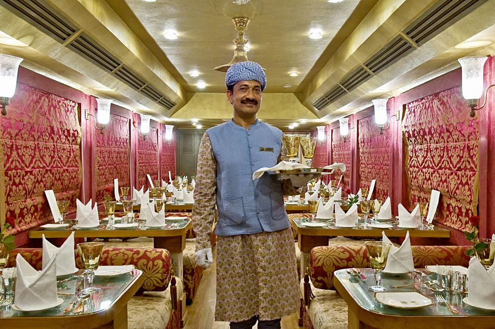 Royal Rajasthan on Wheels - Server in Swarn Mahal Restro Lounge, India