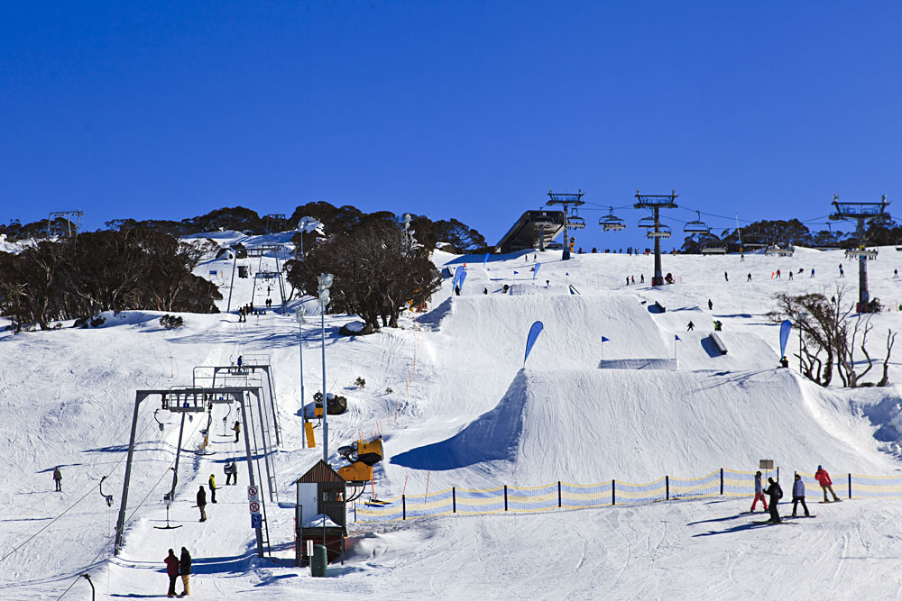 Skiing and Snowboarding at Perisher Ski Resort, Snowy Mountains, Australia