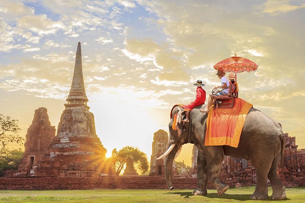 Tourists on Elephant tour in Ayutthaya at Sunrise, Thailand