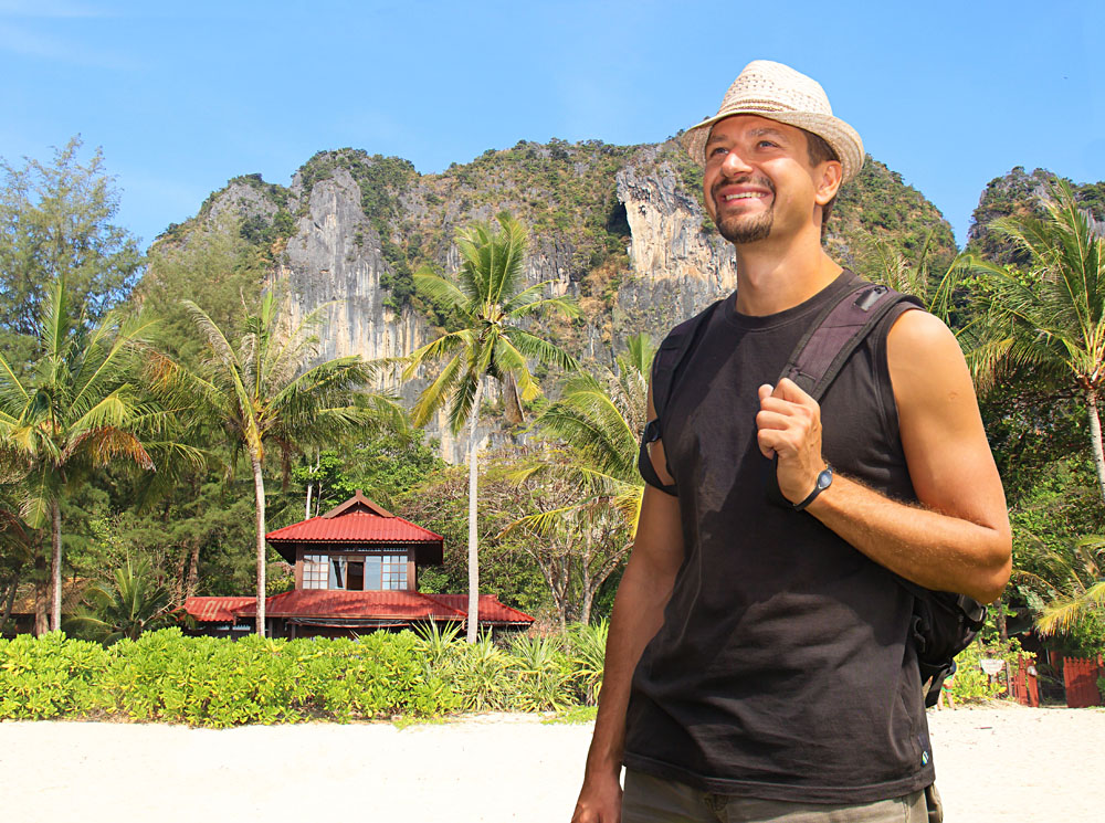Traveller on the Beach in Asia
