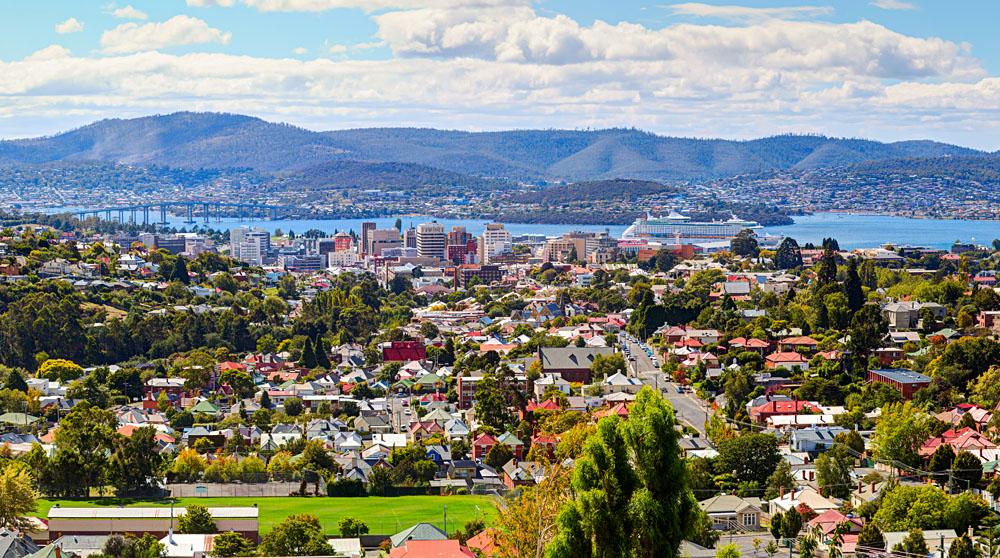 Aerial View of Hobart, Tasmania, Australia
