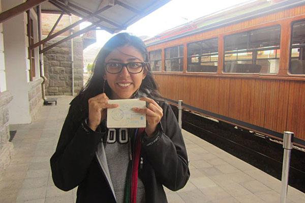 Alejandra Rincon with Passport Stamped on Devils Nose Railway, Ecuador